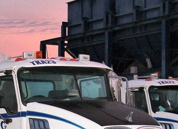 Trucks at dusk